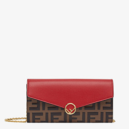 FENDI CONTINENTAL WITH CHAIN - Red leather wallet - view 1 thumbnail
