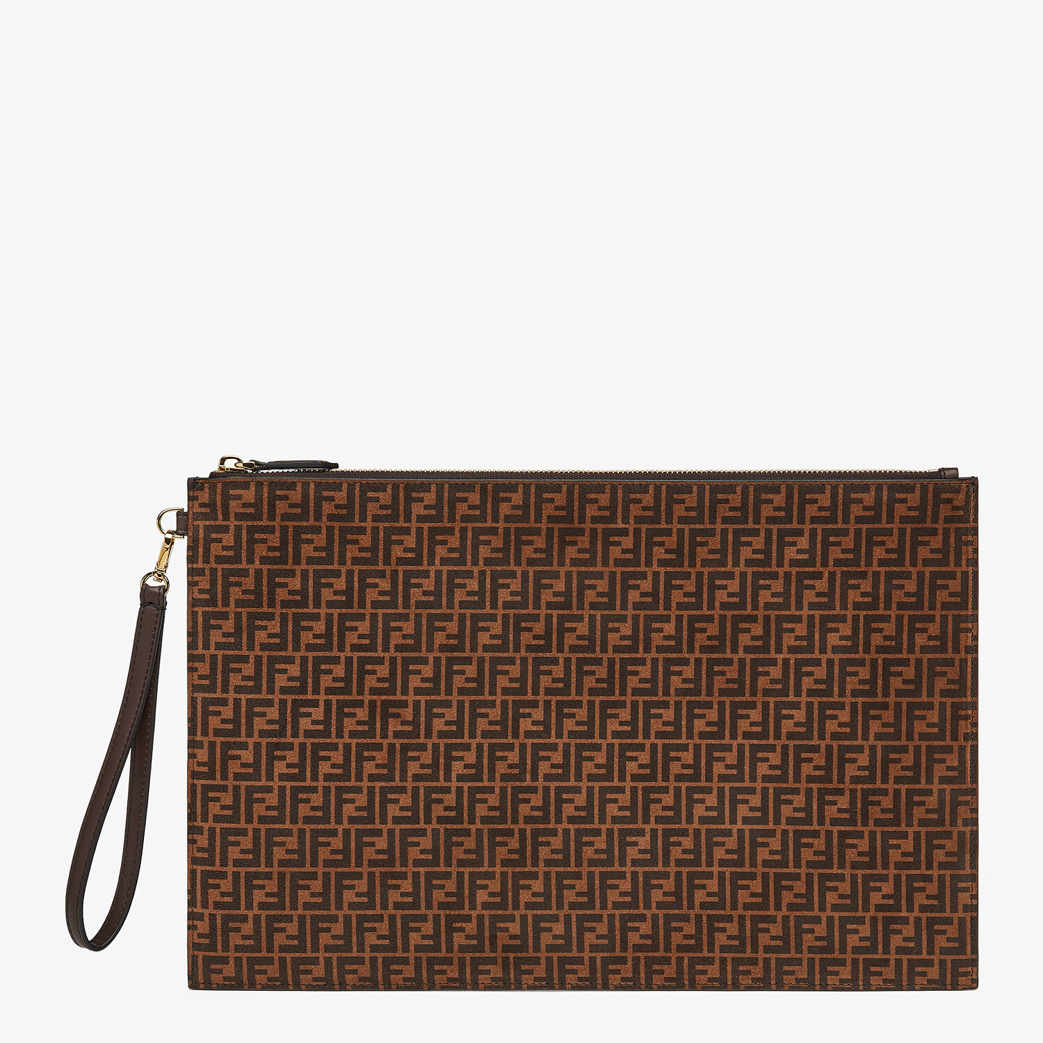 FENDI LARGE FLAT POUCH - Brown leather pouch - view 1 detail