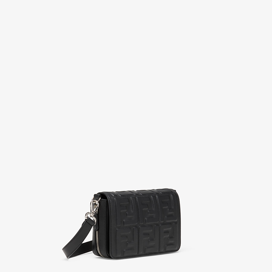 FENDI FLAP BAG - Black nappa leather bag - view 2 detail
