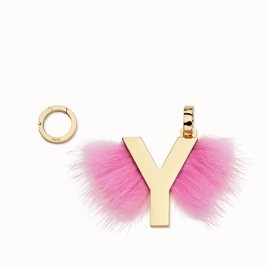 FENDI ABCLICK Y - Pendant with pink fur - view 1 detail