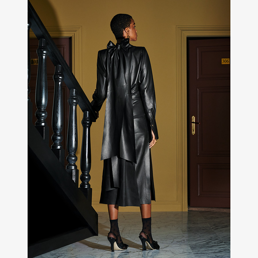 FENDI DRESS - Black leather dress - view 4 detail