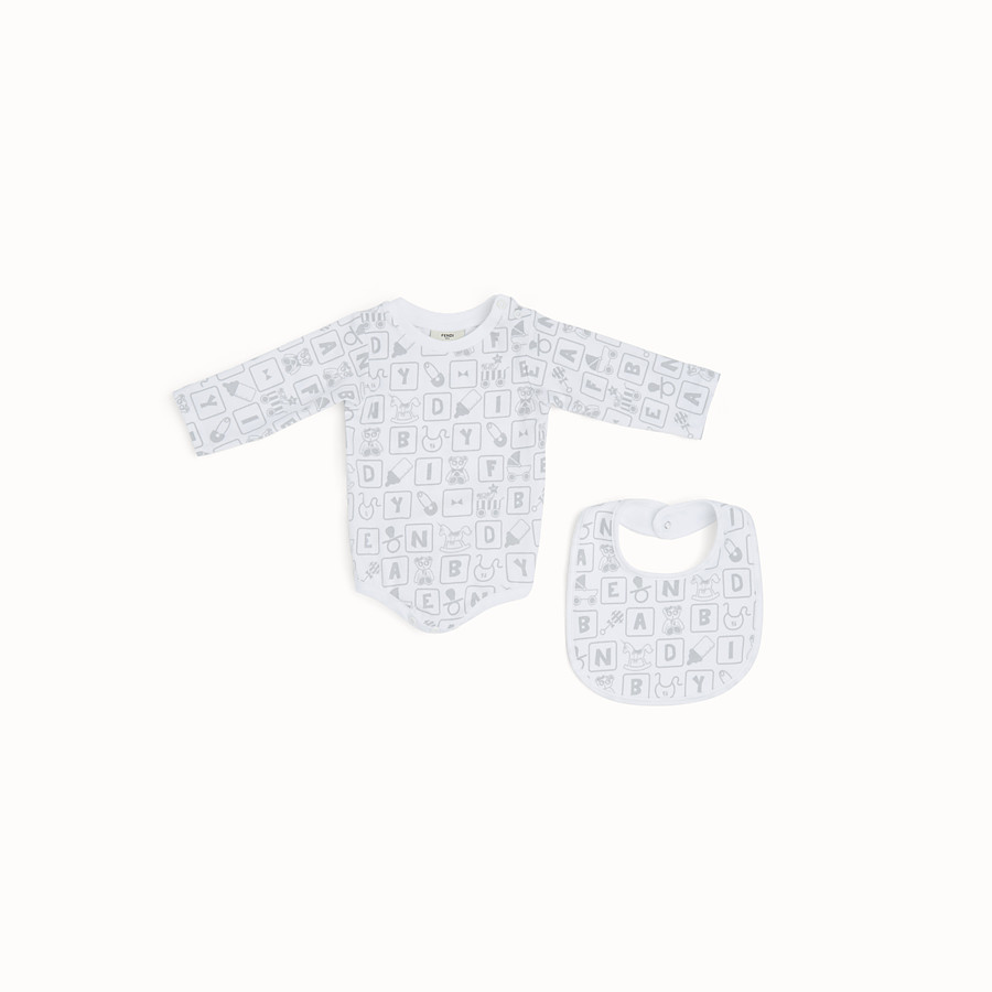 FENDI BABY SHOWER KIT - Baby shower kit in white and grey jersey - view 2 detail
