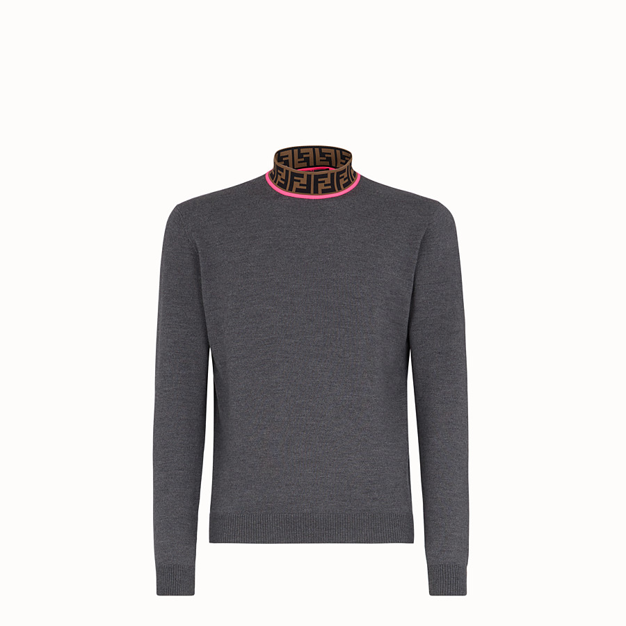 FENDI TURTLENECK - Grey wool jumper - view 1 detail