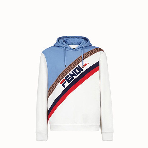 FENDI SWEATSHIRT - White cotton jersey sweatshirt. - view 1 small thumbnail