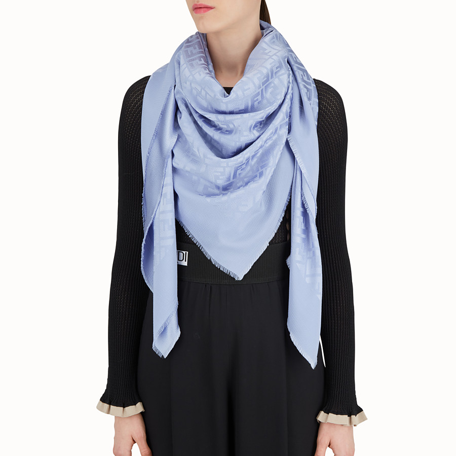 FENDI SHAWL - Light blue silk and wool shawl - view 3 detail