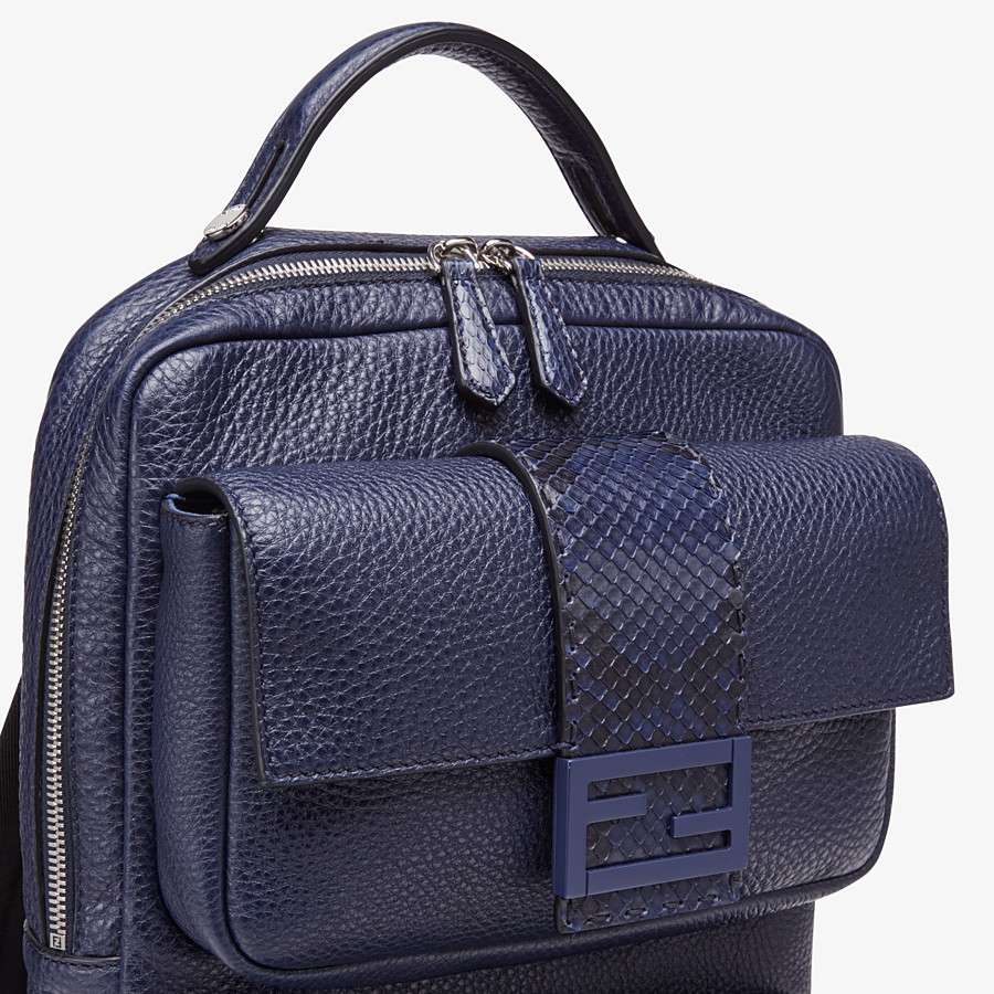 FENDI BACKPACK - Blue calf leather backpack - view 4 detail