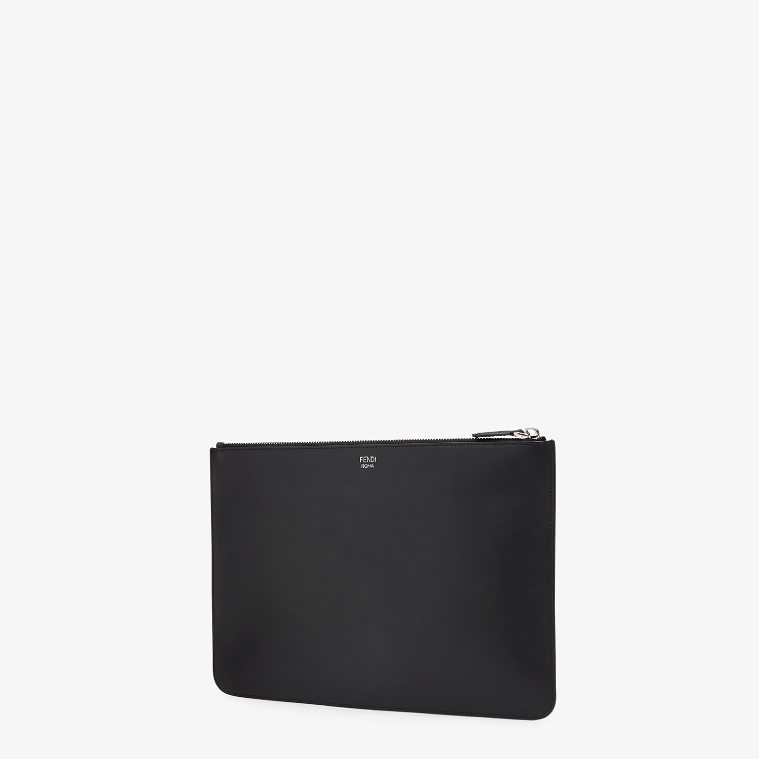 FENDI POUCH - Black leather and metal pochette - view 2 detail