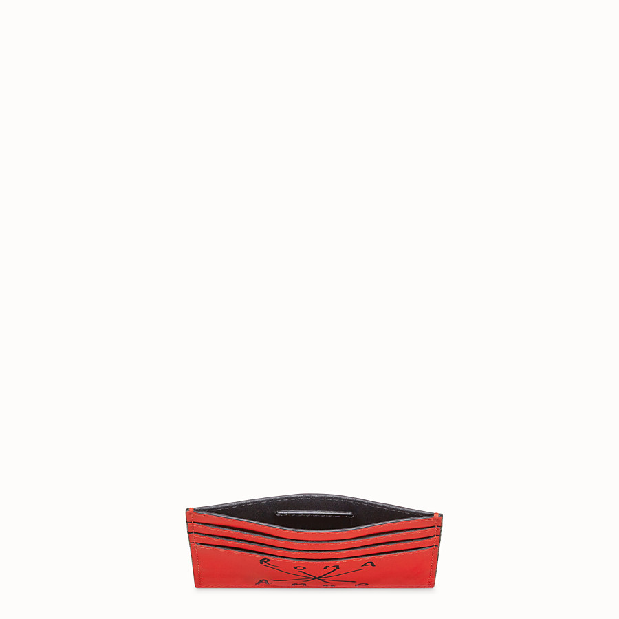 FENDI CARD HOLDER - Red leather card holder - view 3 detail