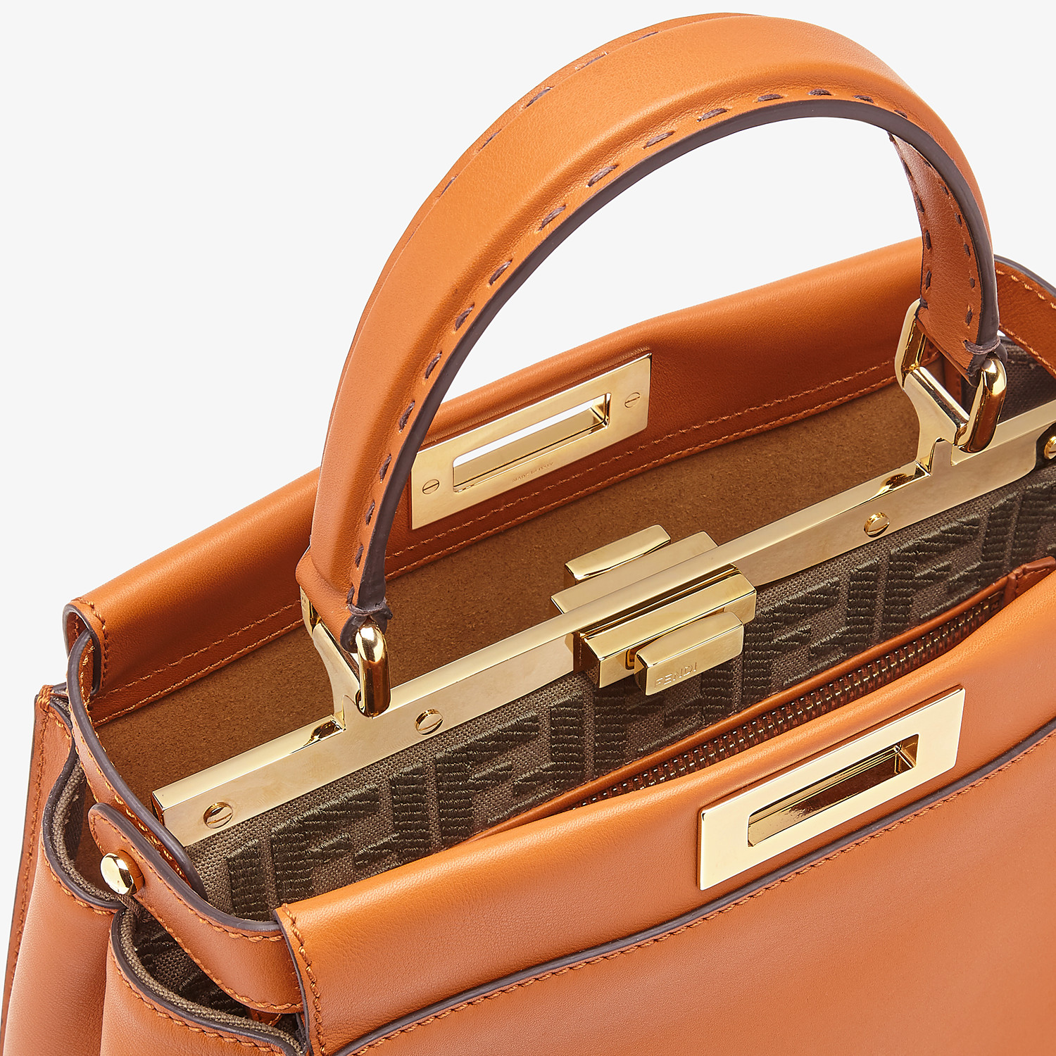 FENDI PEEKABOO ICONIC MEDIUM - Brown leather bag - view 6 detail