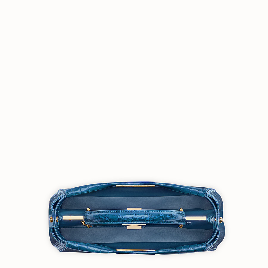 FENDI PEEKABOO REGULAR - Blue crocodile leather handbag. - view 4 detail