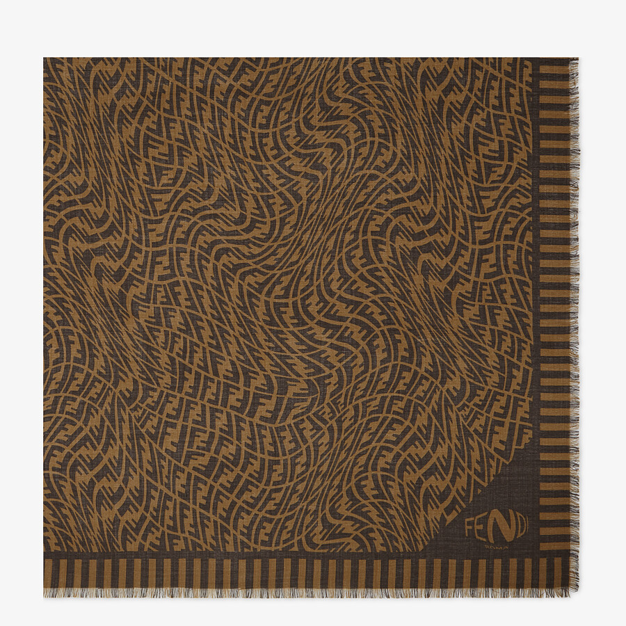 FENDI SCARF - Brown cashmere, wool and silk scarf - view 1 detail