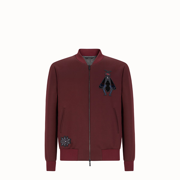 FENDI BLOUSON JACKET - Burgundy neoprene jacket - view 1 small thumbnail
