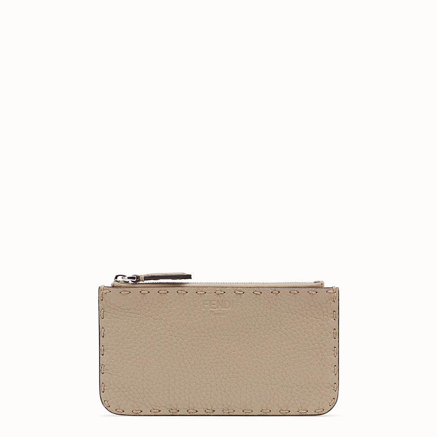 FENDI CARD POUCH - Beige leather pouch - view 1 detail