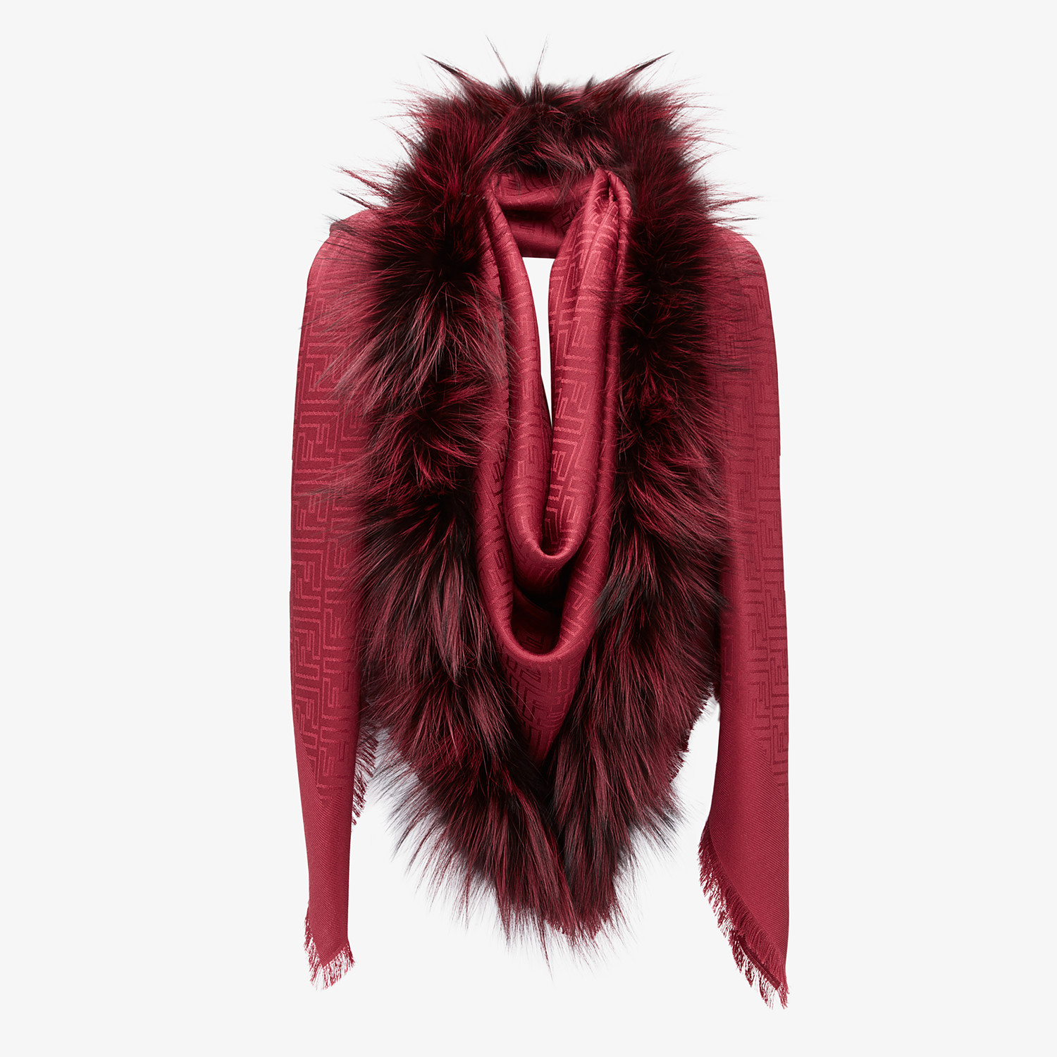 FENDI TOUCH OF FUR SHAWL - Red silk and wool shawl - view 2 detail
