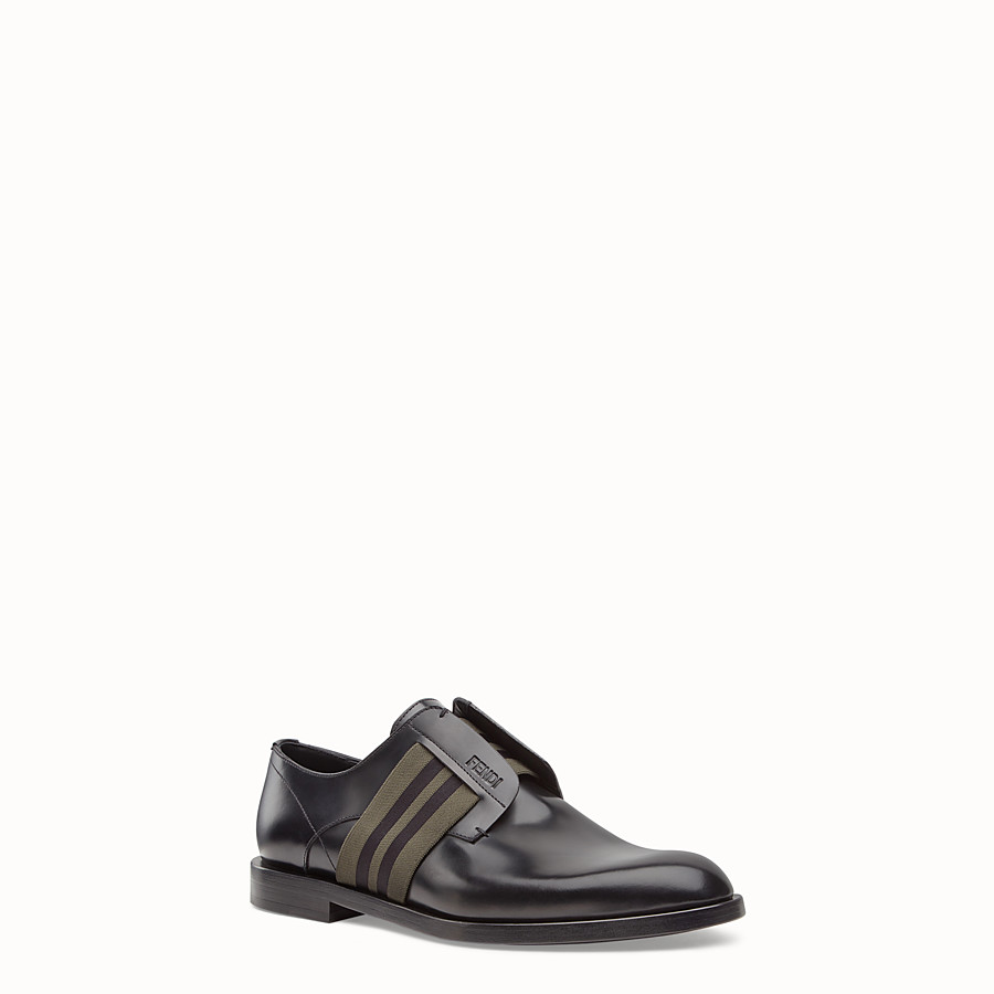 FENDI DERBY SHOES - Black leather slip-ons. - view 2 detail