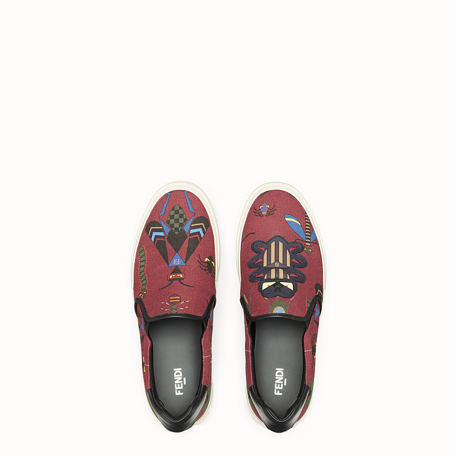 FENDI SNEAKERS - Burgundy canvas slip-ons - view 4 detail