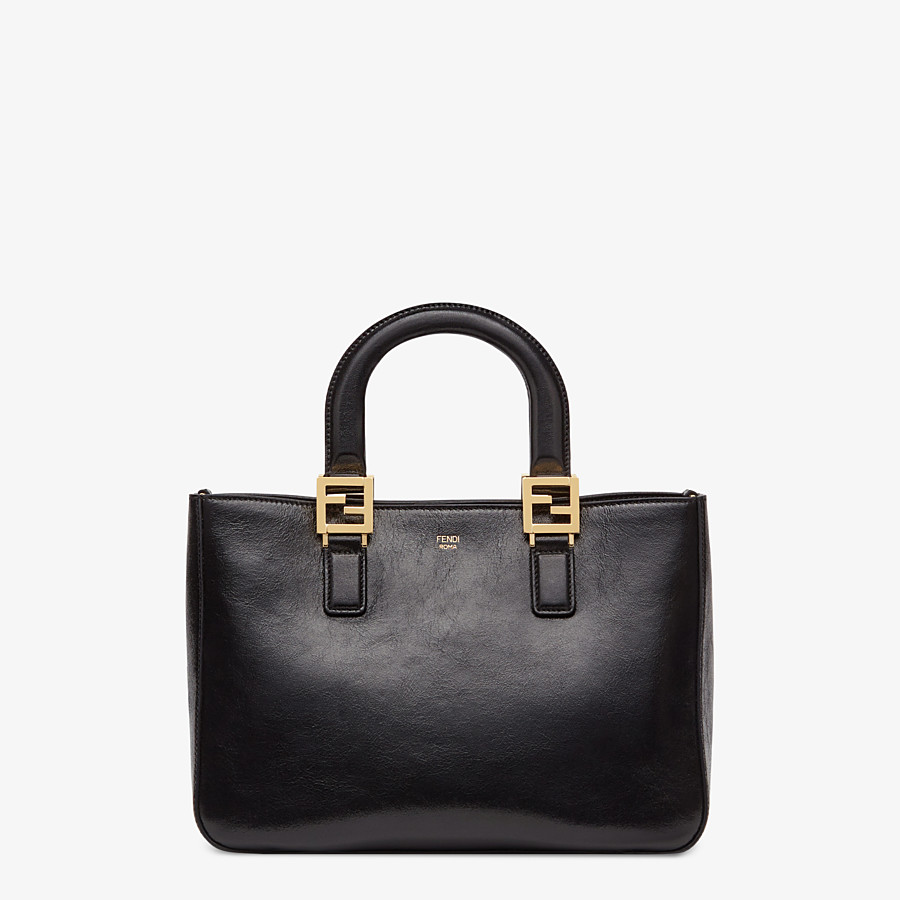FENDI FF TOTE SMALL - Black leather bag - view 1 detail