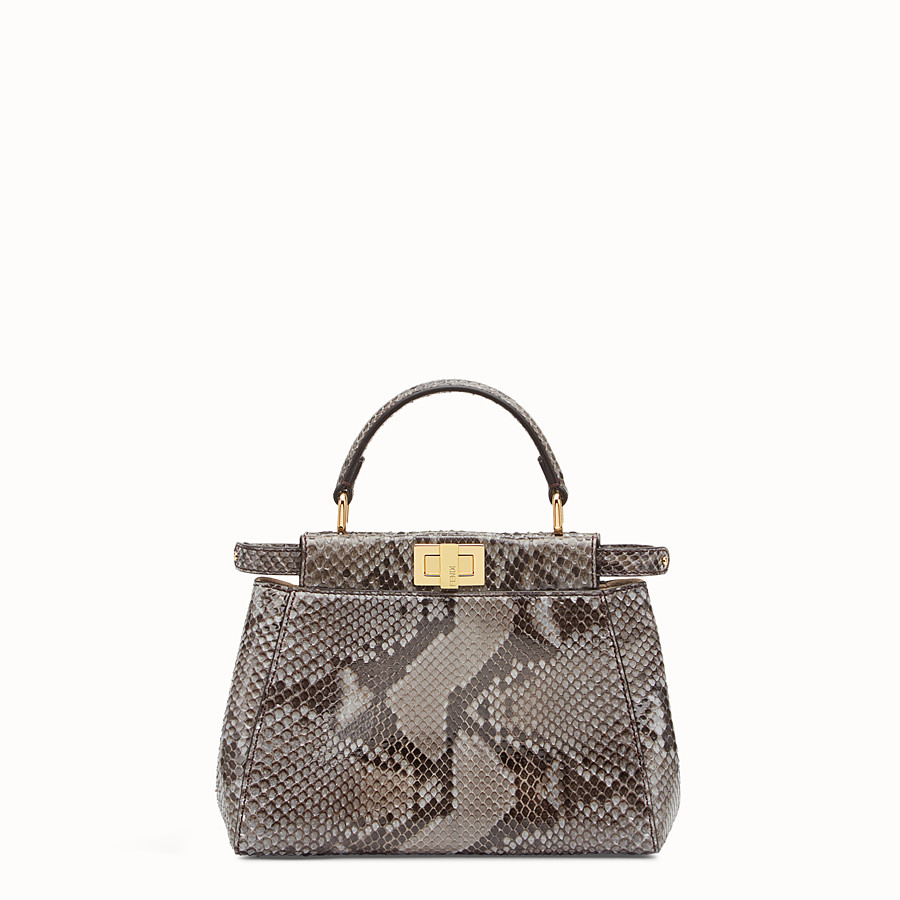 FENDI PEEKABOO ICONIC MINI - Tasche aus Pythonleder in Grau - view 1 detail