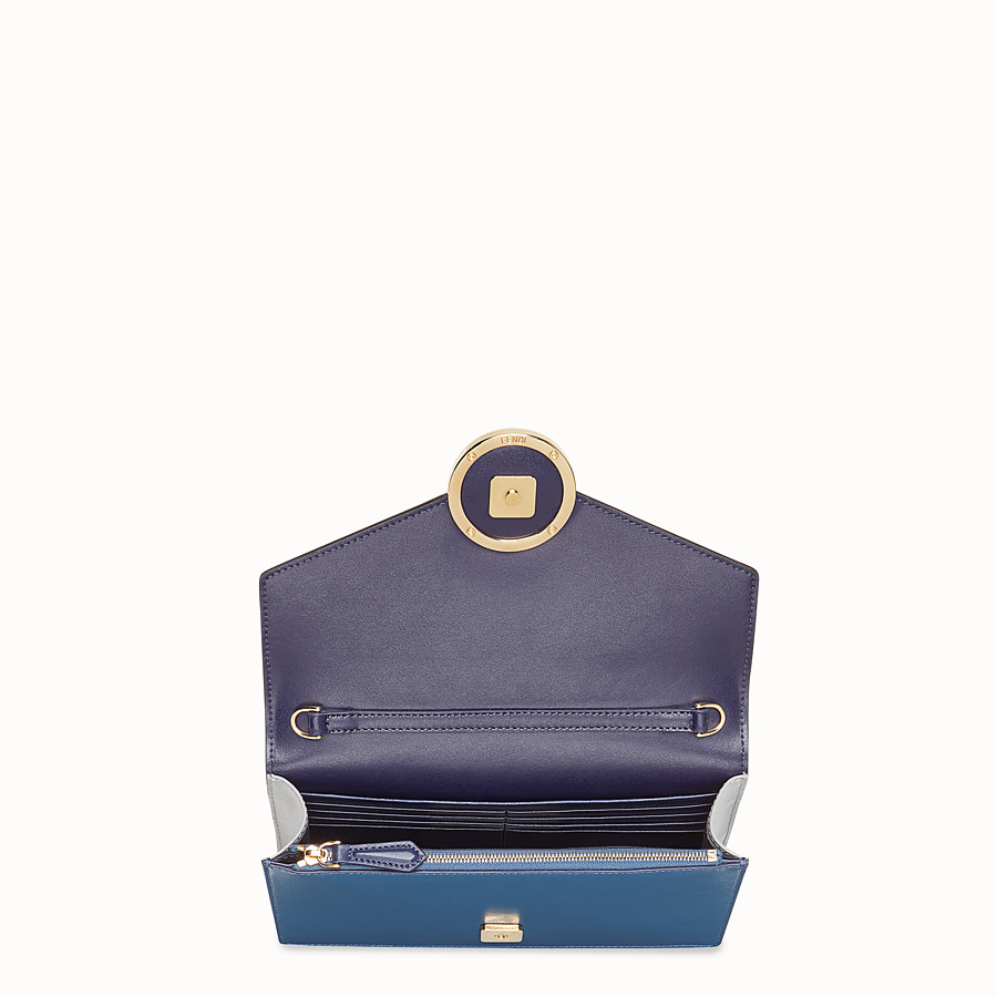 FENDI WALLET ON CHAIN - Blue leather mini-bag - view 4 detail