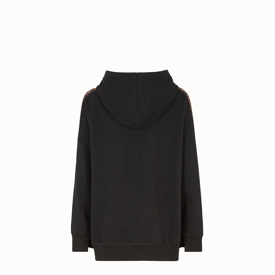 FENDI SWEATSHIRT - Black cotton hoodie - view 2 detail