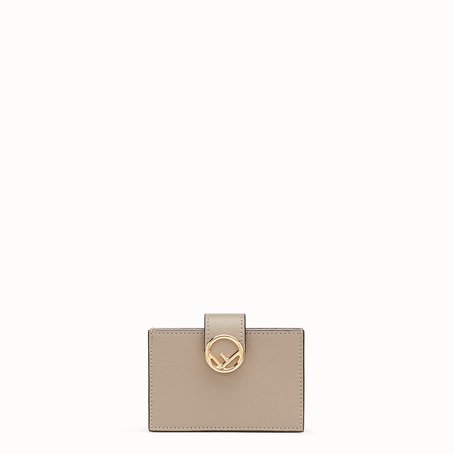 FENDI CARD HOLDER - Grey leather gusseted card holder - view 1 detail