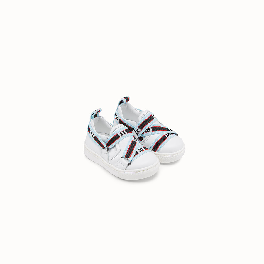 FENDI SLIP-ON - White leather first steps sneakers with multicolour ribbon - view 1 detail
