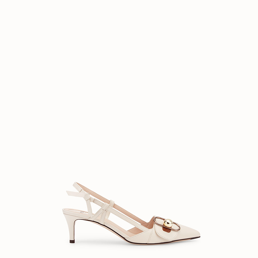 FENDI COURT SHOES - White leather slingbacks - view 1 detail