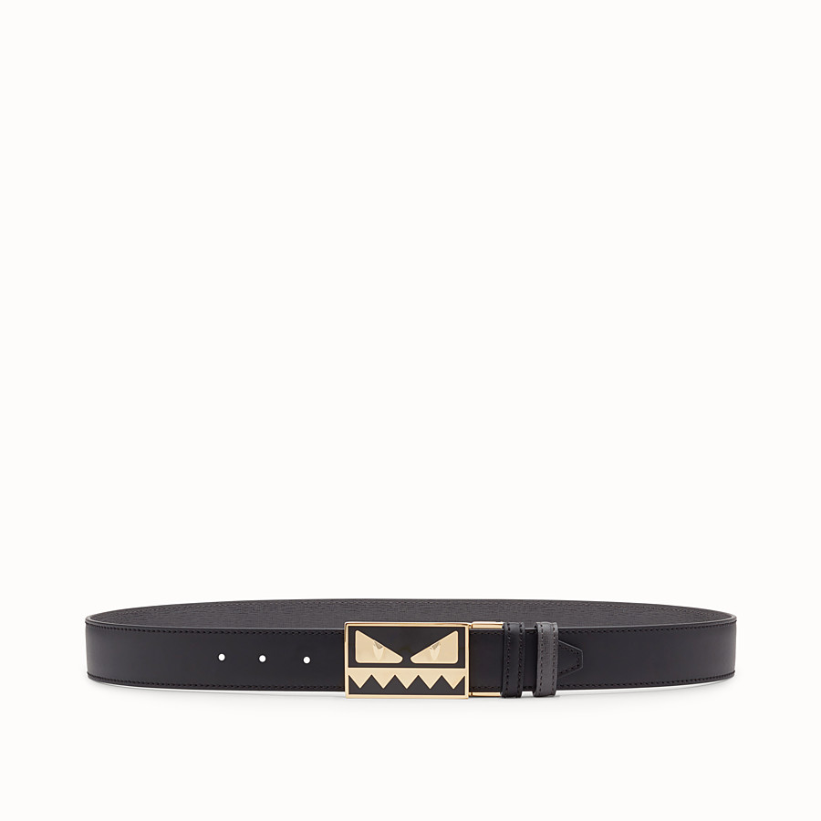 FENDI BELT - Black and grey leather belt - view 1 detail
