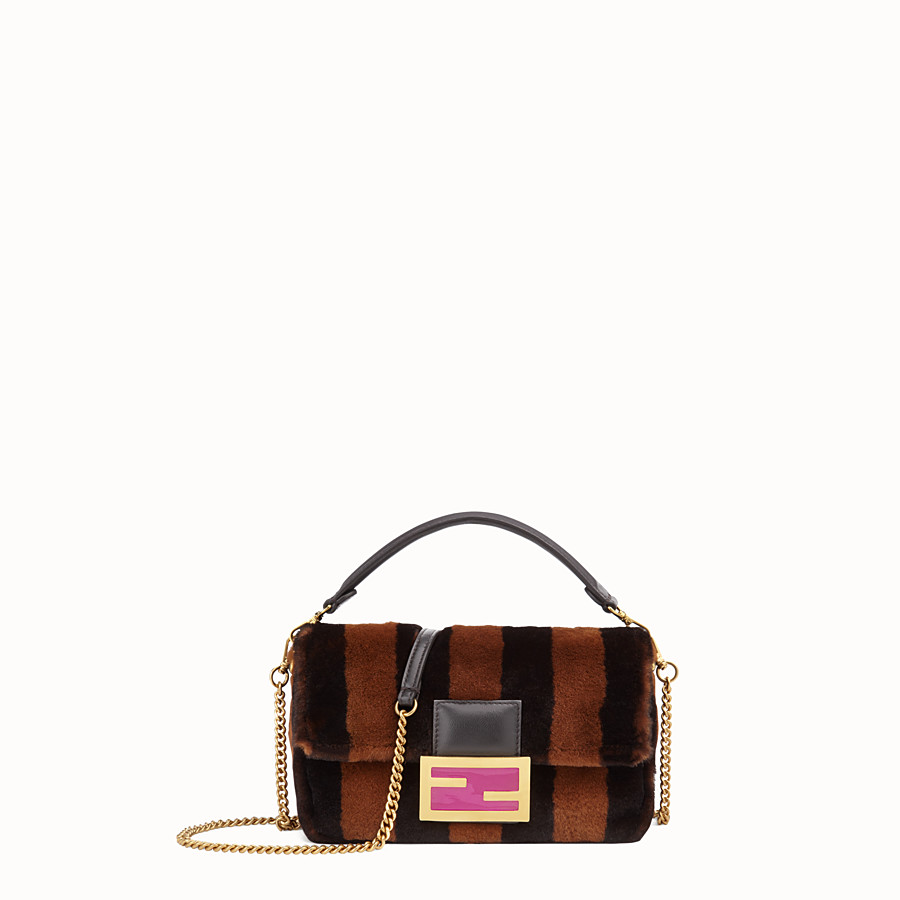 FENDI BAGUETTE MINI CAGE - Mink and black leather bag - view 2 detail