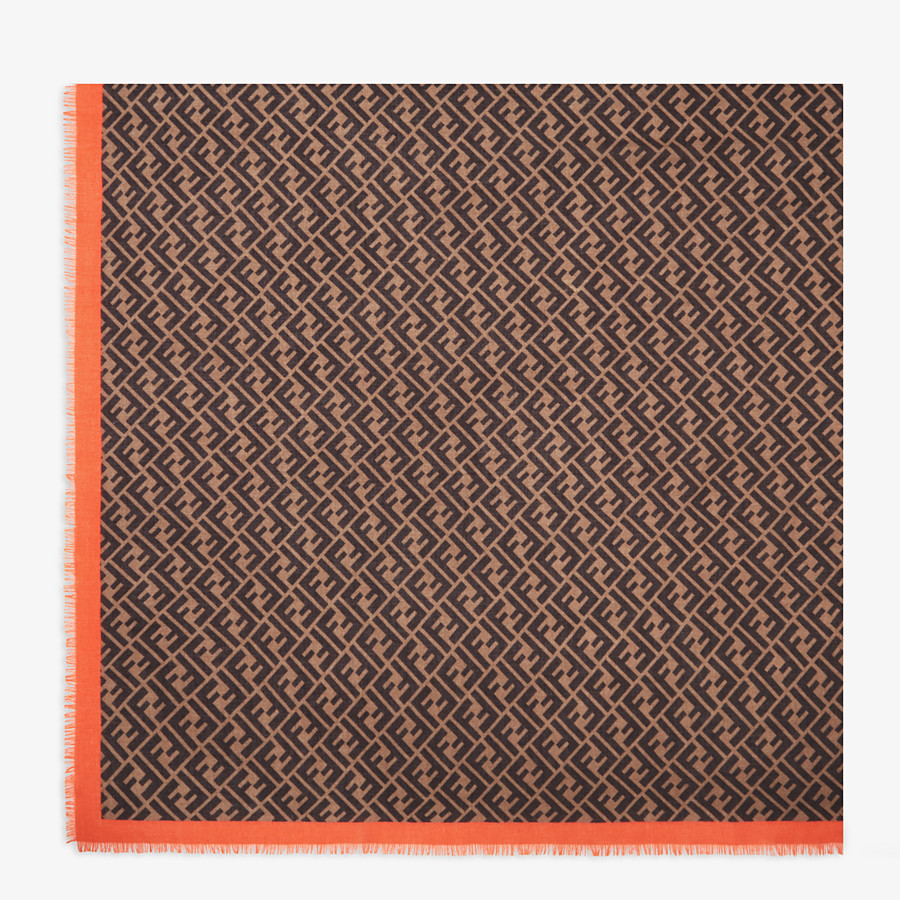 FENDI FF SHAWL - Brown-coloured shawl in cashmere and silk - view 1 detail