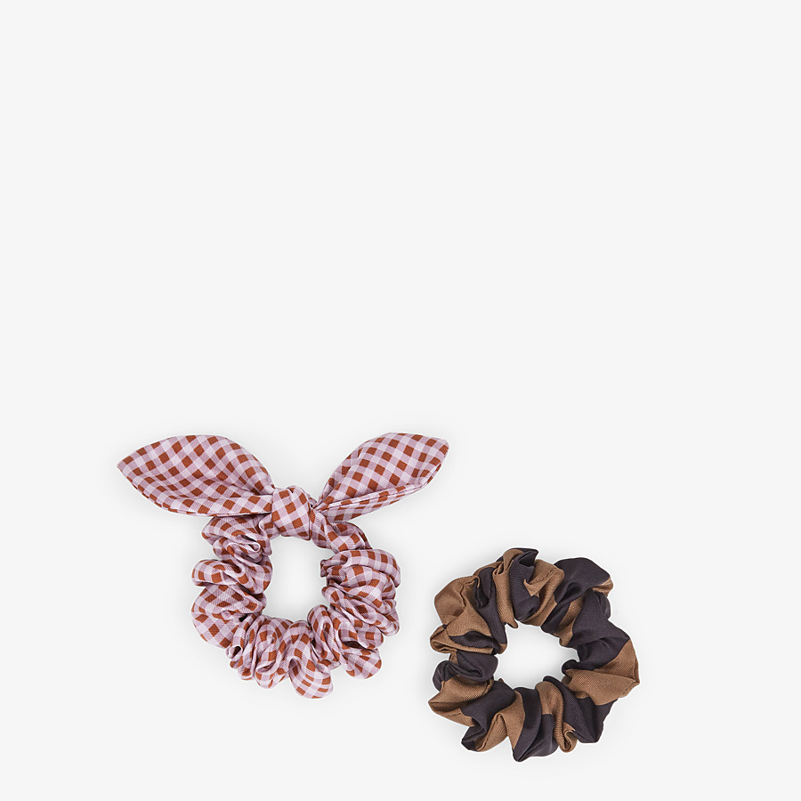 FENDI HAIR TIES - Set of multicolor silk hairbands - view 1 detail