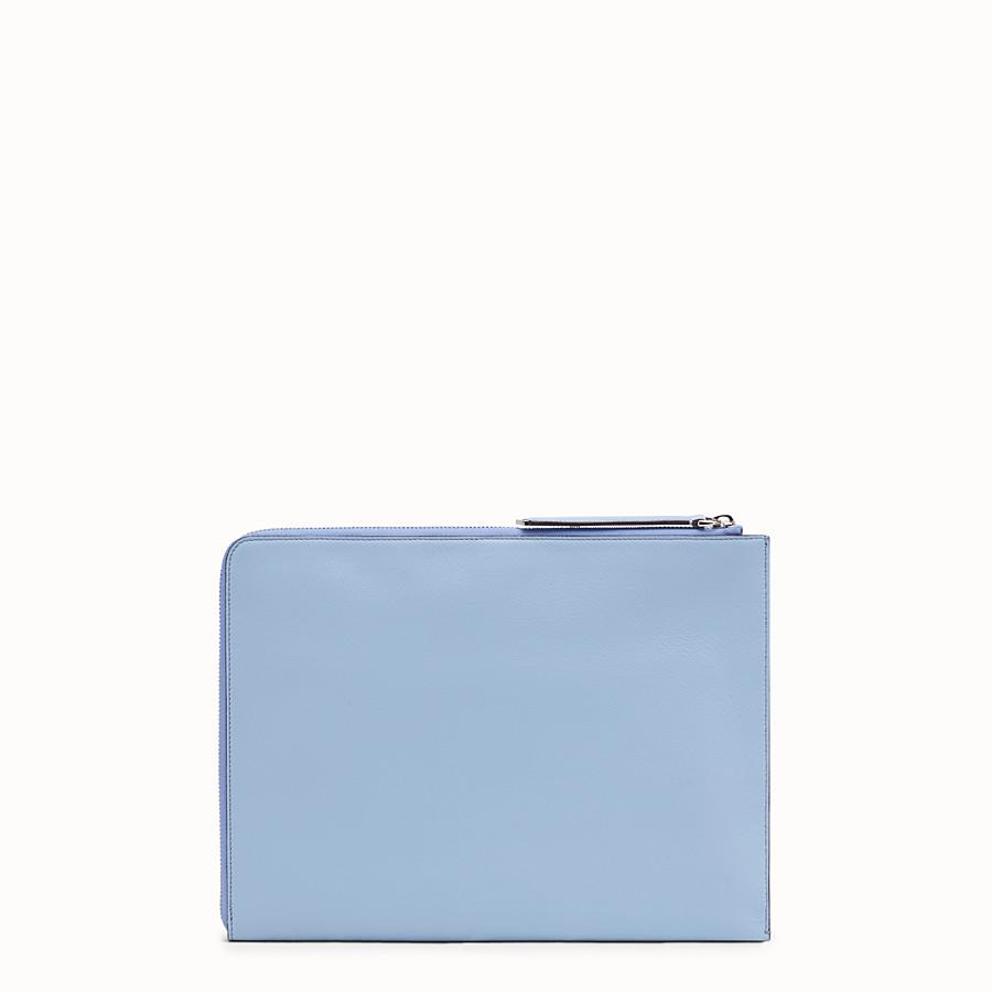 FENDI FLAT CLUTCH - Light blue leather pouch - view 3 detail