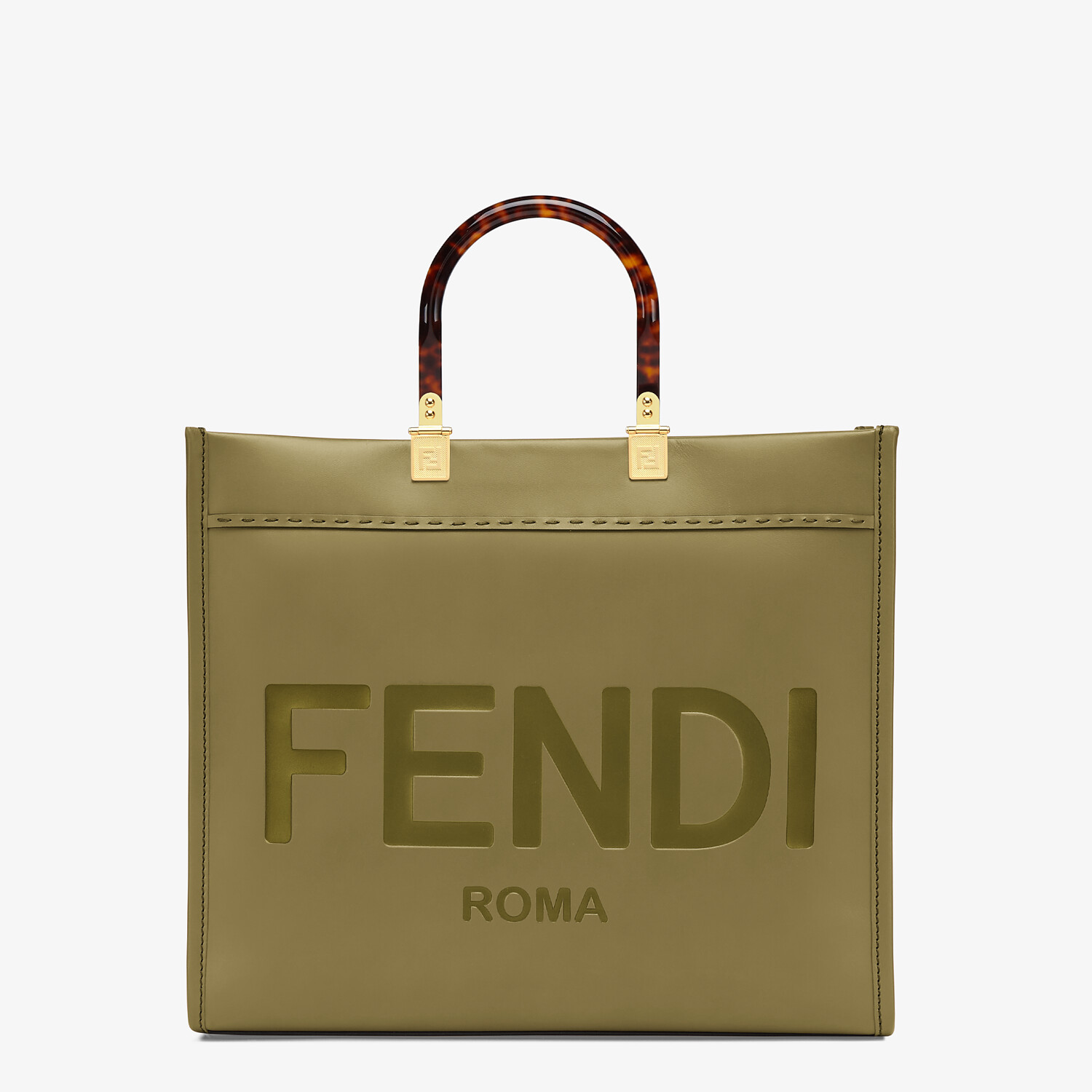 FENDI FENDI SUNSHINE MEDIUM - Green leather shopper - view 1 detail
