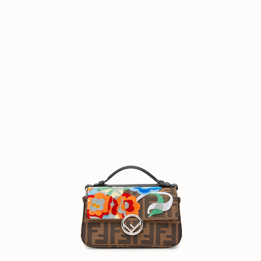 FENDI DOUBLE MICRO BAGUETTE - Multicolour fabric and leather mini-bag - view 1 detail