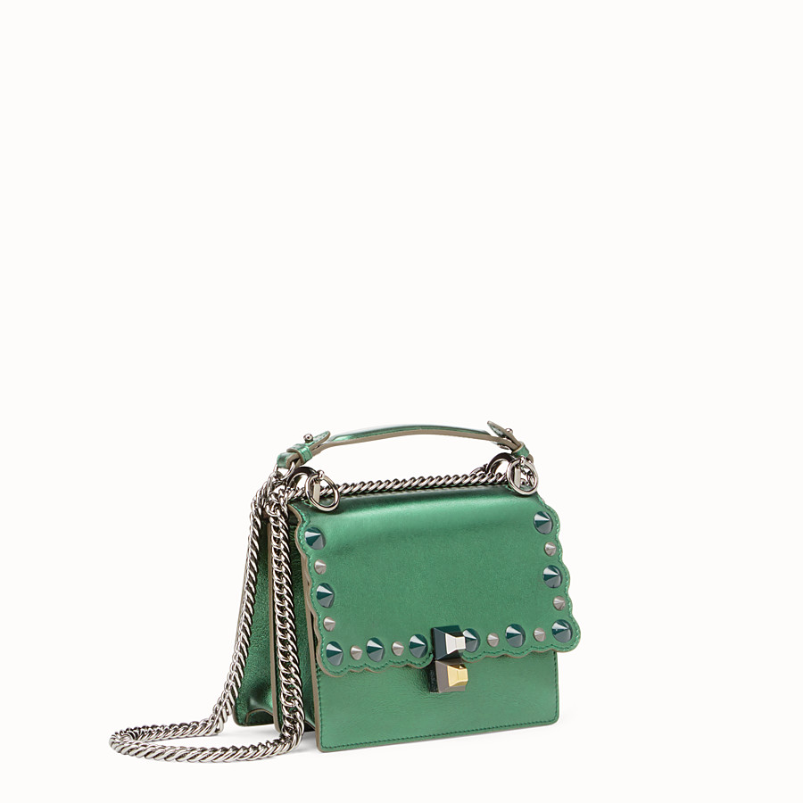 FENDI KAN I SMALL - Green laminated leather mini bag - view 2 detail