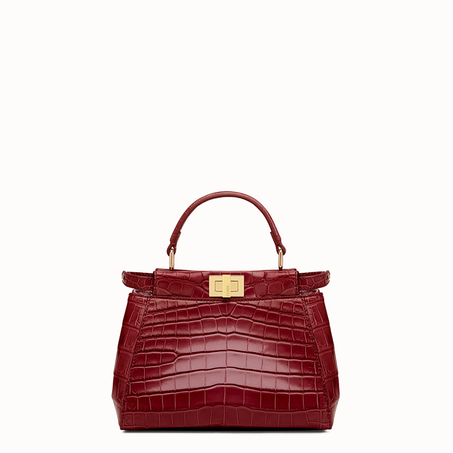 FENDI PEEKABOO MINI - Red crocodile leather handbag. - view 1 detail