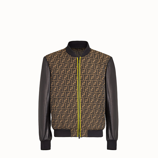 FENDI BOMBER - Bomber in brown leather and fabric - view 1 small thumbnail