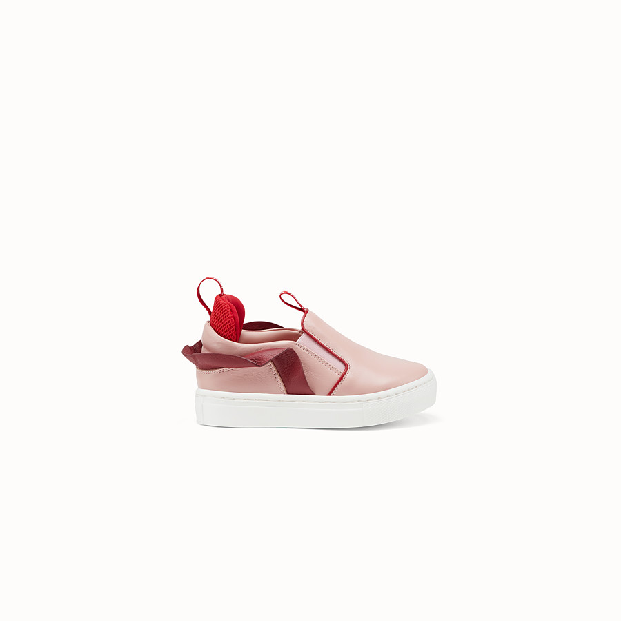 FENDI SLIP-ON SHOES - Pink leather first steps slip-on shoes - view 1 detail