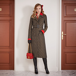 FENDI OVERCOAT - Brown canvas trench coat - view 4 thumbnail