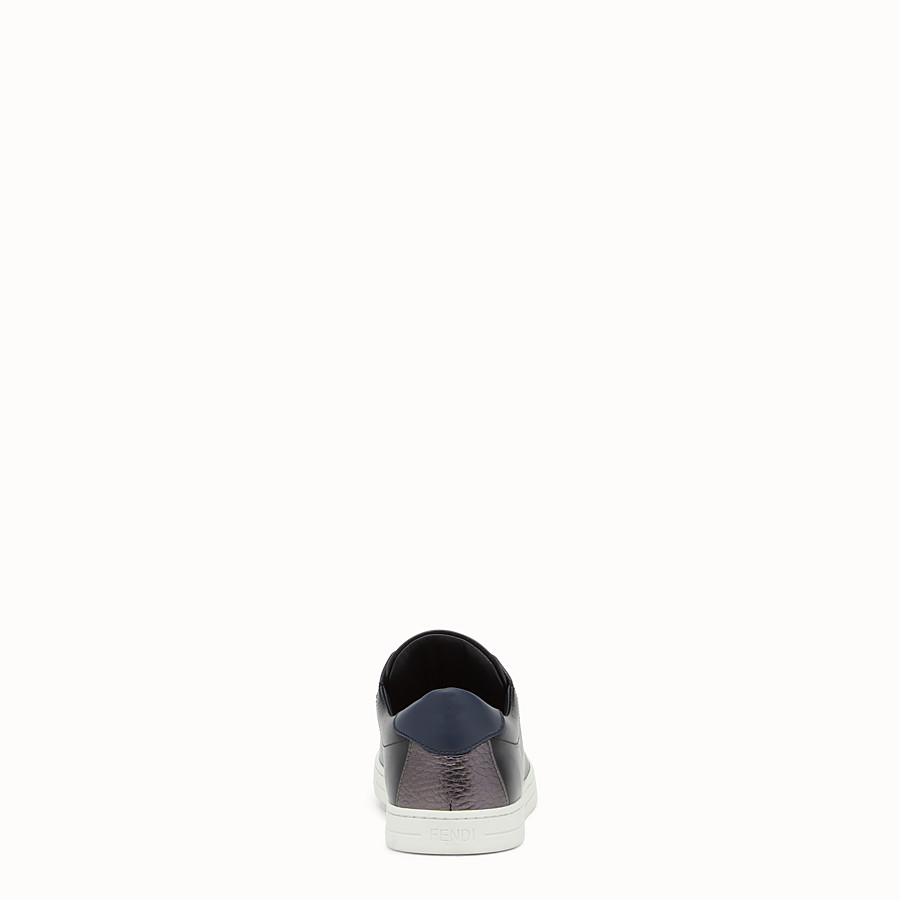 FENDI SNEAKERS - Black stretch leather slip-ons - view 3 detail