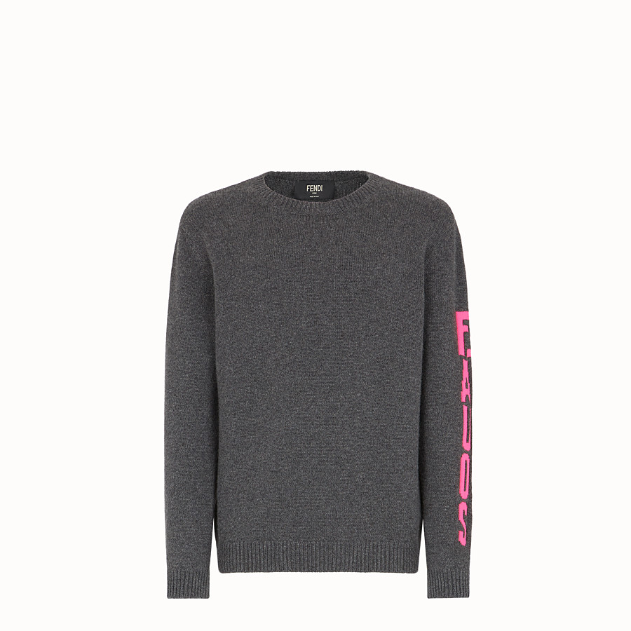 FENDI PULLOVER - Grey cashmere jumper - view 1 detail