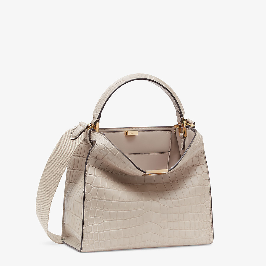 FENDI PEEKABOO X-LITE MEDIUM - Gray crocodile bag - view 4 detail