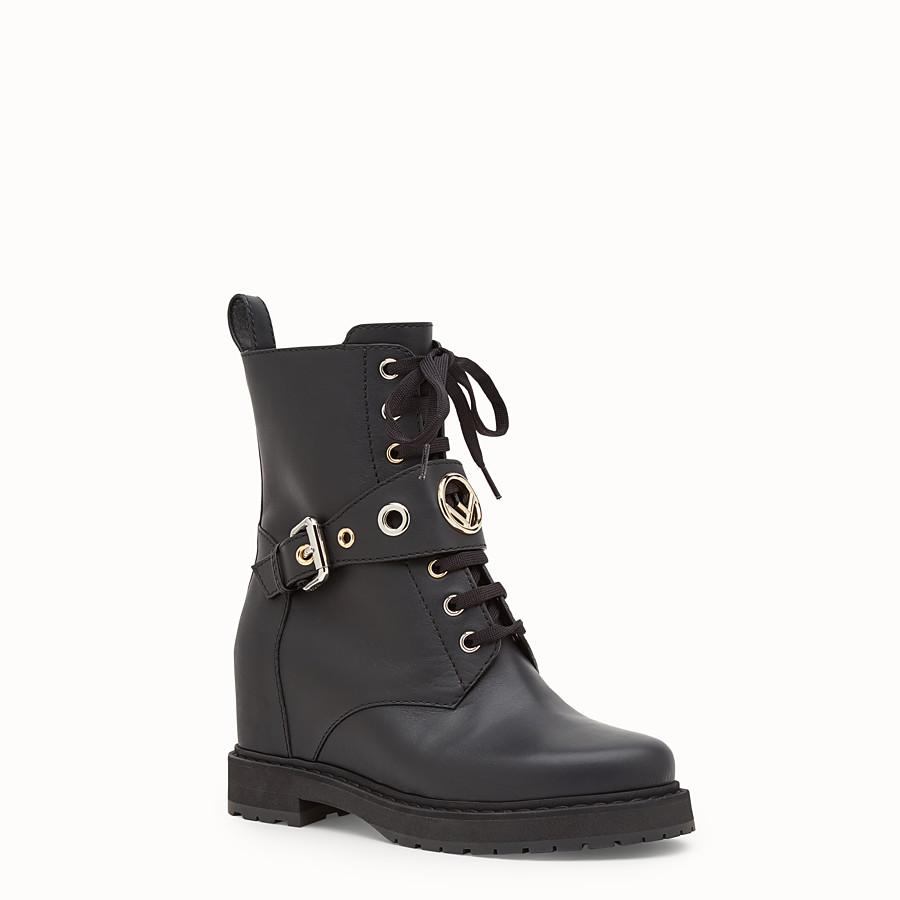 FENDI 靴子 - 黑色皮革騎士靴 - view 2 detail