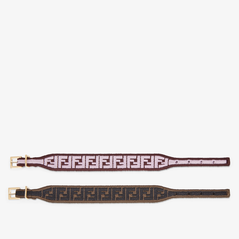 FENDI FF BRACELET - Pink and brown fabric bracelets - view 2 detail