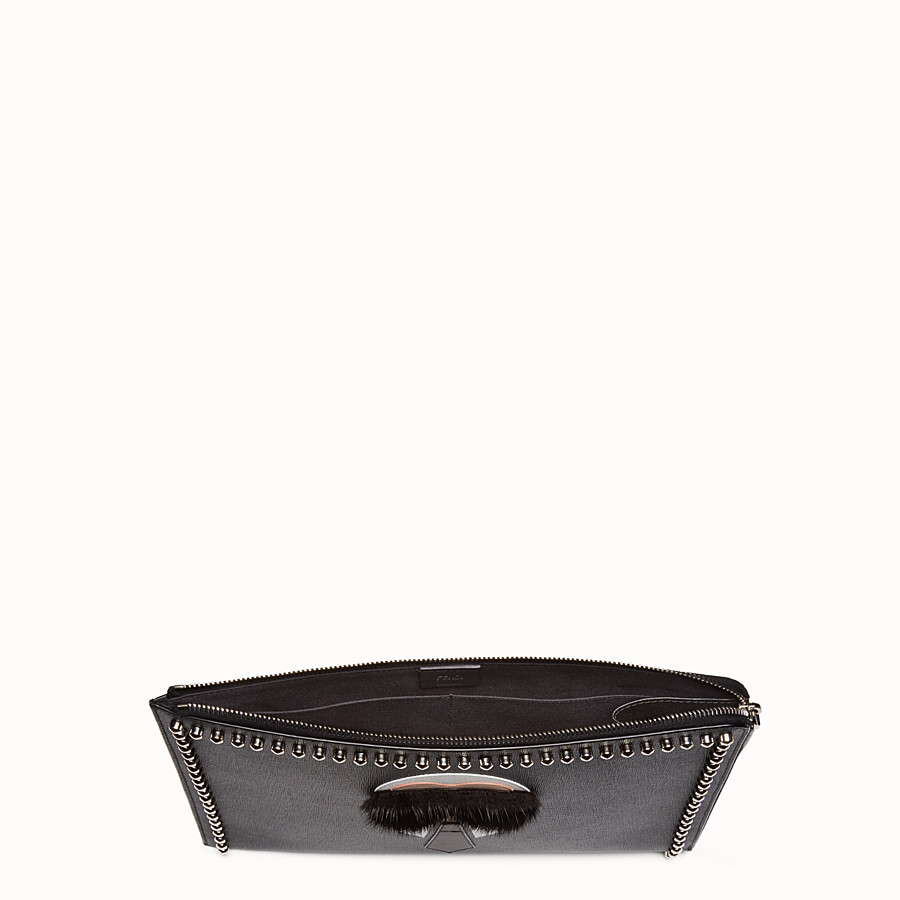 FENDI CLUTCH - in black leather with inlay - view 4 detail