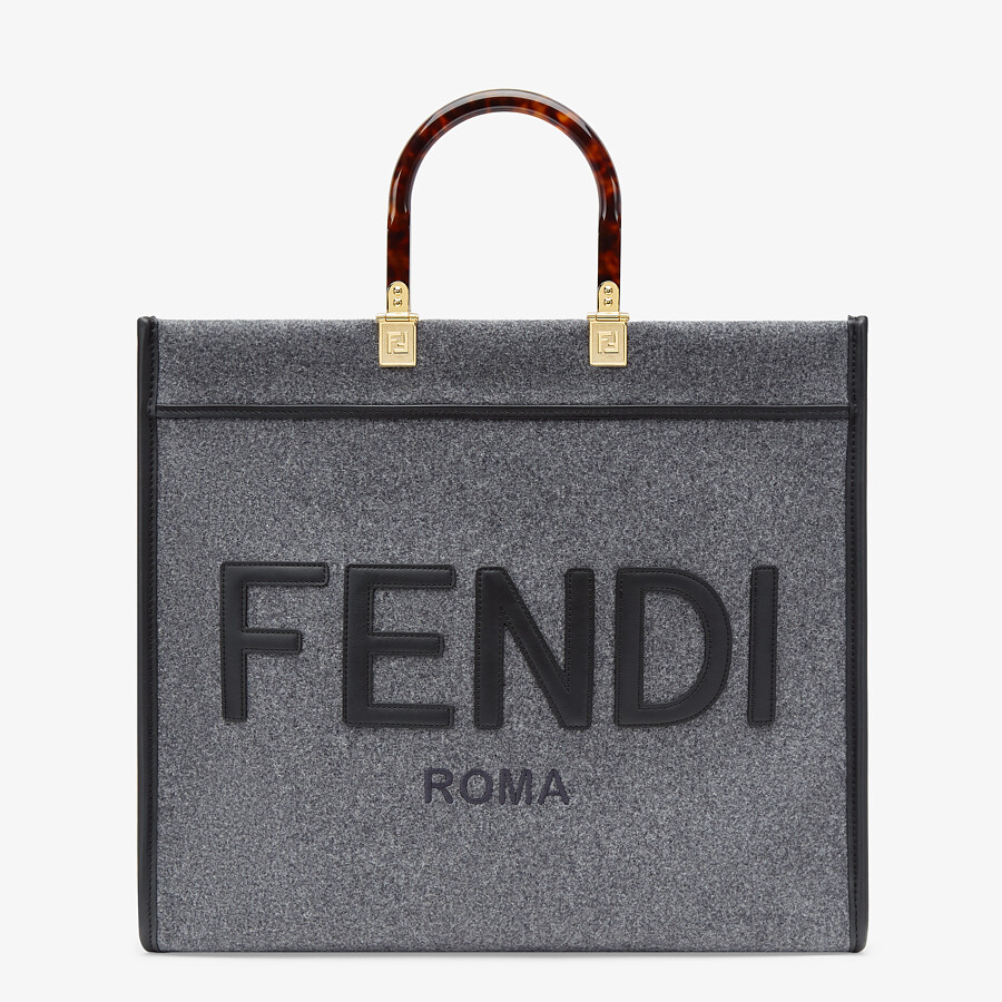 FENDI FENDI SUNSHINE LARGE - Gray flannel shopper - view 1 detail