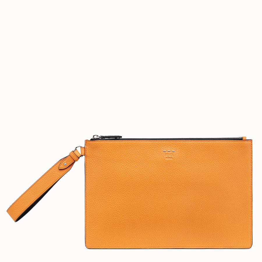 FENDI POUCH - Orange leather pochette - view 1 detail