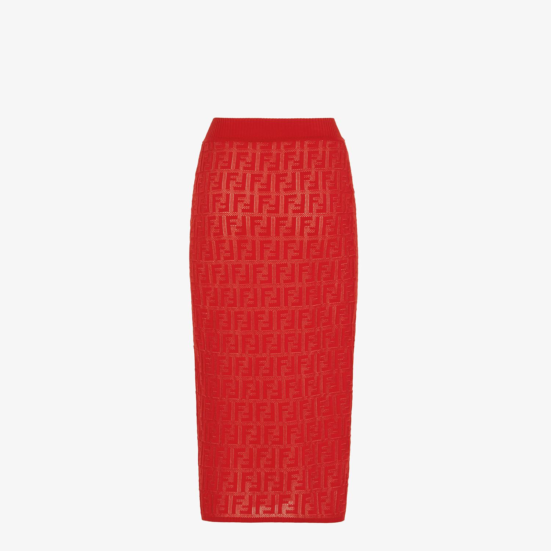 FENDI SKIRT - Red cotton skirt - view 2 detail