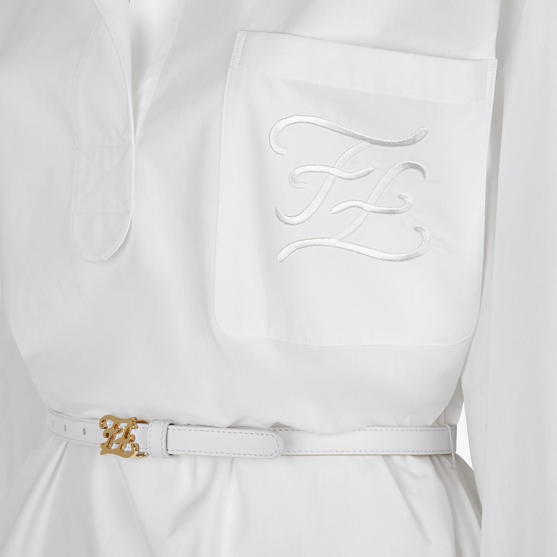 FENDI DRESS - White cotton taffeta dress - view 3 detail