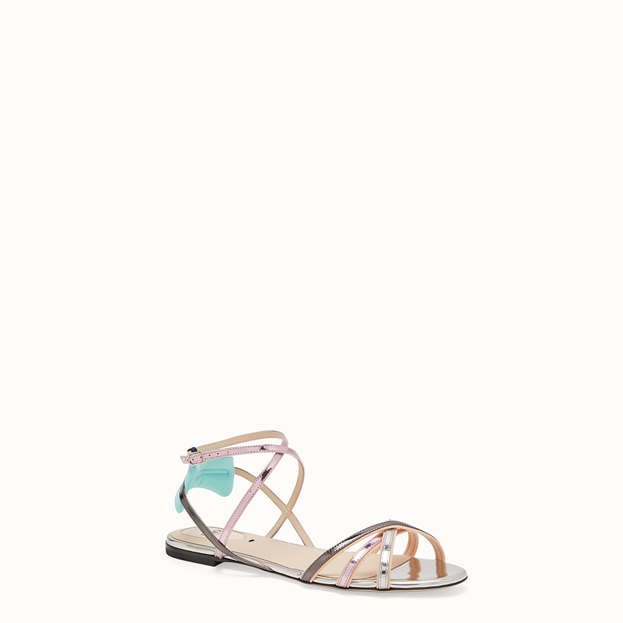 FENDI SANDALS - Multicolour laminated leather flats - view 2 detail